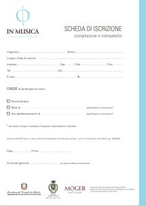 Scheda di iscrizione - In Musica